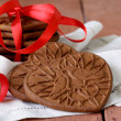 Chocolate cookies in the shape of heart, symbol of love — Stock Photo #59432241