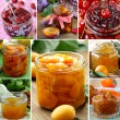 Collage of different kinds of jam (peach, strawberry, orange, plum and fig) — Stock Photo #60241729