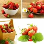 Collage of ripe juicy organic berries strawberry — Stock Photo #60241739