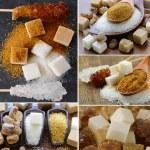 Collage assortment of sugar (refined sugar, white, brown) — Stock Photo #60241741
