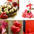 Collage for the day of St. Valentine - flowers, hearts, gifts — Stock Photo #60985561