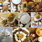 Collage assortment of sugar (refined sugar, white, brown) — Stock Photo #60985703