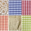Collage of different kinds of fabric kitchen background — Stock Photo #60985743