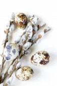 Easter composition of willow branches and eggs — Stock Photo
