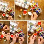 Collage coloring Easter eggs (hand in the shot) paint and brushes — Stock Photo