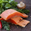 Fresh salmon (red fish) fillet with herbs, spices and vegetables - healthy food — Stock Photo #61106375