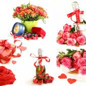 Collage for the day of St. Valentine - flowers, hearts, gifts — Stock Photo