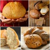 Collage assortment of bread, rye and white — Stock Photo