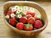 Basket of fresh ripe strawberries - summer berries rustic style — Stock Photo