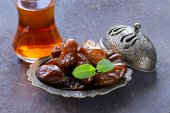 Sweet fruit dates for traditional tea party — Stock Photo