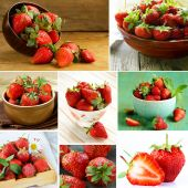 Collage of ripe juicy organic berries strawberry — Stock Photo