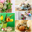 Collage Easter symbols - colored eggs, flowers and decorations — Stock Photo #62843345