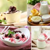 Collage of assorted dairy products (milk, cheese, yogurt, sour cream) — 图库照片