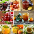 Collage of different kinds of jam (peach, strawberry, orange, plum and fig) — Stock Photo #63187471