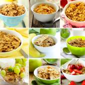 Collage of different variants of muesli (granola) for breakfast — Stock Photo