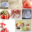 Collage of wedding accessories (ring, cake, bouquet of flowers, earrings, pearl) — Stock Photo #63629453