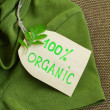 Green shirt made of natural fabrics with organic clothes label — Stock Photo #65757467