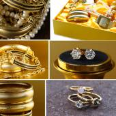 Collage of various jewelry of gold and precious stones (bracelets, necklaces, earrings, chains) — Foto de Stock