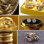 Collage of various jewelry of gold and precious stones (bracelets, necklaces, earrings, chains) — Stock Photo
