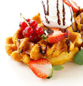 Belgian waffles with berries (currants, strawberries) and ice cream — Stock Photo