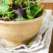 Mix salad (arugula, iceberg, red beet) in a wooden bowl — Stock Photo #66925265