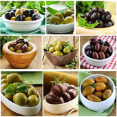 Collage of different varieties of olives (kalamata, green, black) — Stock Photo