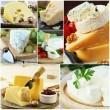 Collage of various types of cheese (brie, parmesan, cheddar, blue) — Stock Photo #67557447