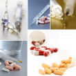 Collage medications - various pills, syringes, thermometer — Stock Photo #70167187