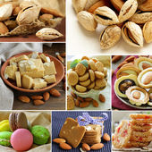 Collage almond and nut products - marzipan, macaroon, cookies — Stock Photo