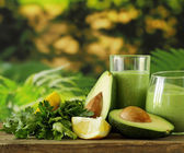 Natural drink smoothie with avocado, herbs and yogurt — Stock Photo