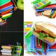Collage school stationery and  lunch box - Back to school concept — Stock Photo #74640409