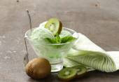 Fruit creamy ice cream with green kiwi and mint — Stock Photo