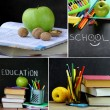 Collage school stationery and apple - Back to school concept — Stock Photo #77259456