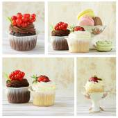 Collage of holiday desserts, cupcakes and macaroons on a vintage background — Stock Photo