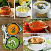 Collage menu different soups (tomato, pumpkin, miso, spinach) — Stock Photo