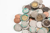 Dirty thai coins — Stock Photo