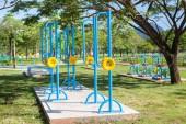 Beautiful modern fitness equipment outdoors — Stock Photo