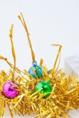 Christmas composition with gift box and decorations — Stock Photo