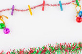 Christmas ornaments frame on white paper background — Stock Photo