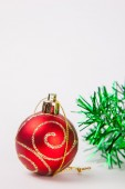Christmas decoration on a white paper background — Stock fotografie