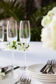 Wedding table setup outdoor — Foto Stock