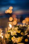Wedding table setup outdoor — Stock Photo