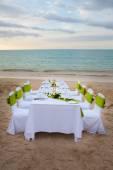 Long dinner table — Stock Photo