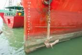 Taslak ölçek numaralandırma ile gemi arasında yay — Stok fotoğraf