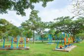 Exercise equipment in public park in the morning at Thailand — Stock Photo