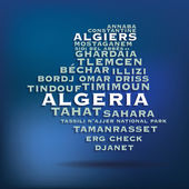 Algeria map made with name of cities — Stock Vector