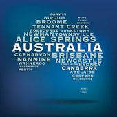 Australia map made with name of cities — Vettoriale Stock