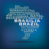 Brazil map made with name of cities — Stock Vector