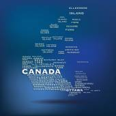 Canada map made with name of cities — Stock Vector