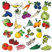 Freehand drawing fruits and vegetables icon set — Stock Vector